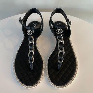 CHANEL Chain Sandals T-Strap CC Logo Size 38.5